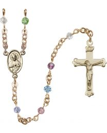 Scapular 14k Yellow Gold 4mm Multi-Color Swarovski Rosary