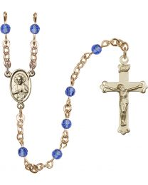 Scapular 14k Yellow Gold Filled 4mm Sapphire Swarovski Rosary