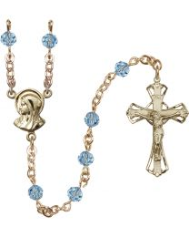 Madonna 14k Yellow Gold Filled 5mm Aqua Swarovski Rosary
