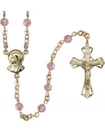 Madonna 14k Yellow Gold Filled 5mm Light Rose Swarovski Rosary