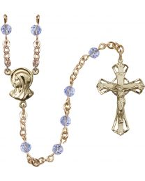 Madonna 14k Yellow Gold Filled 5mm Light Sapphire Swarovski Rosary
