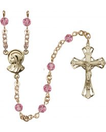 Madonna 14k Yellow Gold Filled 5mm Rose Swarovski Rosary