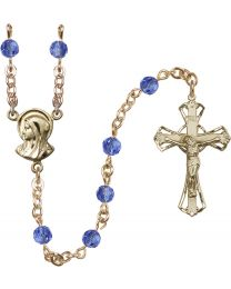 Madonna 14k Yellow Gold Filled 5mm Sapphire Swarovski Rosary