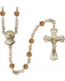 Madonna 14k Yellow Gold 5mm Topaz Swarovski Rosary