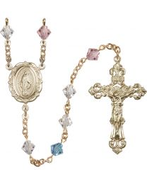 Miraculous Medal 14k Yellow Gold 6mm Multi-Color Swarovski Rundell Rosary