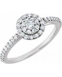 14k White Gold 1/2 CTW Diamond Cluster Halo-Style Engagement Ring - Size 7