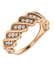 14k Rose Gold 1/4 CTW Diamond Stackable Ring - Size 7