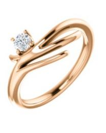 14k Rose Gold 1/6 CTW Diamond Solitaire Freeform Ring - Size 7