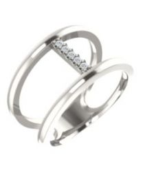 Sterling Silver .04 CTW Diamond Negative Space Ring - Size 7