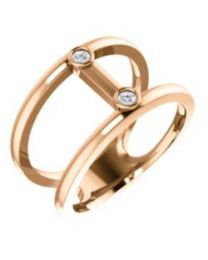 14k Rose Gold .06 CTW Diamond Two-Stone Negative Space Ring - Size 7