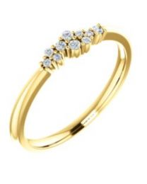 14k Yellow Gold 1/10 CTW Diamond Stackable Cluster Ring - Size 7