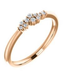 14k Rose Gold 1/10 CTW Diamond Stackable Cluster Ring - Size 7