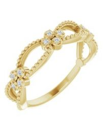 14k Yellow Gold .06 CTW Diamond Stackable Beaded Ring - Size 7
