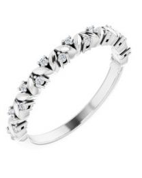 Sterling Silver .07 CTW Diamond Leaf Stackable Ring
