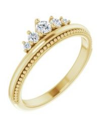 14k Yellow Gold 1/5 CTW Diamond Stackable Crown Ring - Size 7