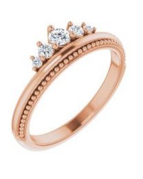 14k Rose Gold 1/5 CTW Diamond Stackable Crown Ring - Size 7