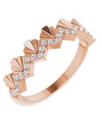 14k Rose Gold 1/6 CTW Diamond Vintage-Inspired Anniversary Band - Size 7