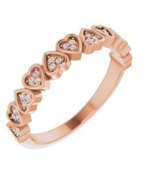 14k Rose Gold .07 CTW Diamond Heart Anniversary Band