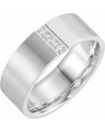 14k White Gold 1/10 CTW Diamond Band with Satin Finish - Size 10