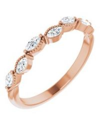 14k Rose Gold 1/3 CTW Diamond Anniversary Band - Size 7