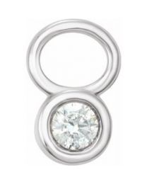 14k White Gold 1/10 CT Diamond Bezel Set Hoop Charm
