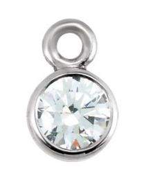 14k White Gold 1/6 CTW Diamond Micro Bezel Dangle