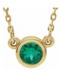 14k Yellow Gold 4mm Round Emerald Bezel-Set Solitaire 16' Necklace