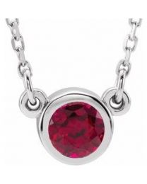 14k White Gold 4mm Round Ruby Bezel-Set Solitaire 16' Necklace