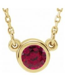 14k Yellow Gold 4mm Round Ruby Bezel-Set Solitaire 16' Necklace