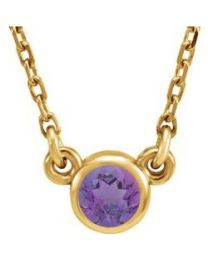 14k Yellow Gold 3mm Round Amethyst Bezel-Set Solitaire 16' Necklace