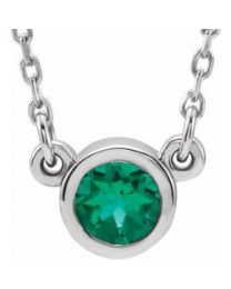 Diamond Sterling Silver 3mm Round Emerald Bezel-Set Solitaire 16' Necklace