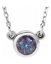 Sterling Silver 3mm Round Alexandrite Bezel-Set Solitaire 16' Necklace