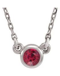 Sterling Silver 3mm Round Ruby Bezel-Set Solitaire 16' Necklace