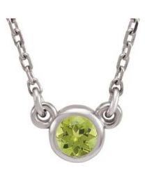 14k White Gold 3mm Round Peridot Bezel-Set Solitaire 16' Necklace