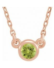 14k Rose Gold 3mm Round Peridot Bezel-Set Solitaire 16' Necklace