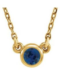 14k Yellow Gold 3mm Round Blue Sapphire Bezel-Set Solitaire 16' Necklace
