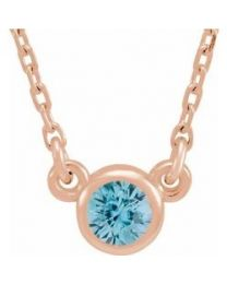 14k Rose Gold 3mm Round Blue Zircon Bezel-Set Solitaire 16' Necklace