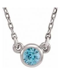 Platinum 3mm Round Blue Zircon Bezel-Set Solitaire 16' Necklace