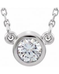 14k White Gold 3mm Round White Sapphire Bezel-Set Solitaire 16' Necklace