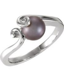Solitaire Ring for Pearl in 14k White Gold - Size 6