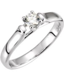 14k White Gold 1/2 CTW Diamond Solitaire Engagement Ring - Size 7