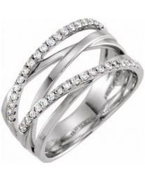 14k White Gold 1/3 CTW Diamond Criss-Cross Ring - Size 7