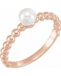 14k Rose Gold 5.5-6.0mm Freshwater Cultured Pearl Stackable Beaded Ring - Size 7