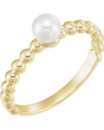 14k Yellow Gold 4.5-5mm Freshwater Cultured Pearl Ring - Size 7