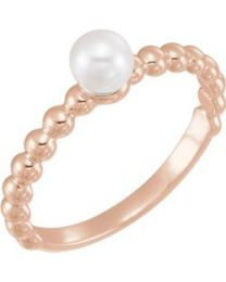 14k Rose Gold 4.5-5mm Freshwater Cultured Pearl Ring - Size 7