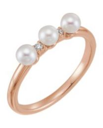 14k Rose Gold Freshwater Cultured Pearl & .03 CTW Diamond Stackable Ring - Size 7