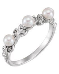 14k White Gold Pearl & .03 CTW Diamond Stackable Leaf Pattern Ring - Size 7