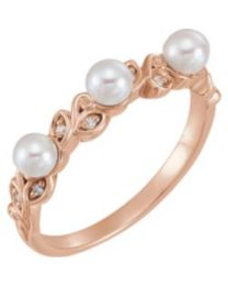 14k Rose Gold Pearl & .03 CTW Diamond Stackable Leaf Pattern Ring - Size 7