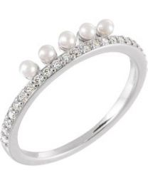 14k White Gold Freshwater Cultured Pearl & 1/5 CTW Diamond Stackable Ring - Size 7