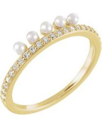 14k Yellow Gold Freshwater Cultured Pearl & 1/5 CTW Diamond Stackable Ring - Size 7